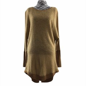 A' reve Tan Knit Tunic Sweater Pullover Hi Low Top